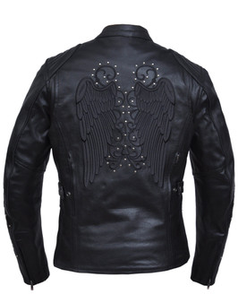 UNIK Ladies Premium Leather Jacket with Reflective Wings and Studs Design - 6824-RF-UN