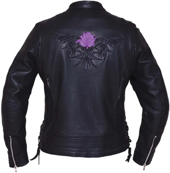 UNIK Ladies Premium Leather Motorcycle Jacket With Purple Embroidered Rose - 6801-17-UN
