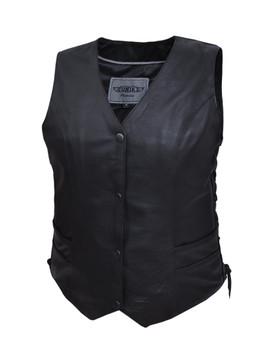 UNIK Ladies Premium Leather Motorcycle Vest - 2659-00-BLK