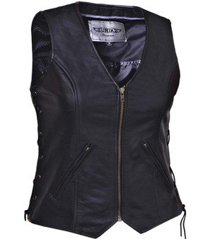 UNIK Ladies Premium Leather Motorcycle Vest - SKU 399-00-UN