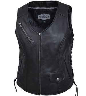 UNIK Ladies Premium Leather Motorcycle Vest - SKU GRL-6892-00-UN