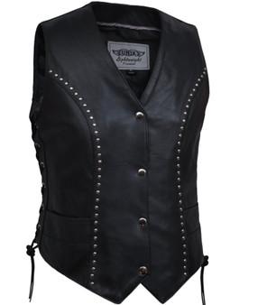 UNIK Ladies Studded Lightweight Leather Biker Vest - SKU 2666-00-UN