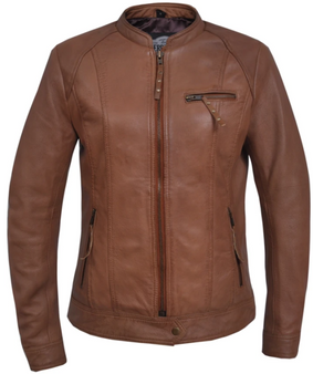 UNIK Ladies Tan Leather Racer Style Motorcycle Jacket - 6849-TAN-UN