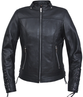 UNIK Ladies Ultra Leather Racer Style Motorcycle Jacket - 6801-PL-UN