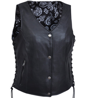 UNIK LADIES VEST WITH BLACK PAISLEY LINER - SKU GRL-6890.00-UN