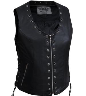 UNIK Ladies Zippered Lightweight Leather Vest With Eyelets - SKU GRL-2682-NG-UN