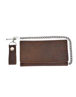 UNIK Brown Leather Biker Chain Wallet - SKU 5708-00-UN