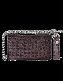 UNIK Brown Leather Biker Chain Wallet With Crocodile Pattern - SKU 9098-00-UN