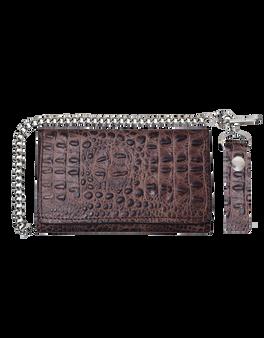 UNIK Brown Leather Biker Chain Wallet With Crocodile Pattern - SKU 9094-00-UN