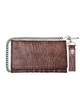 UNIK Brown Leather Biker Chain Wallet With Crocodile Pattern - SKU 9093-00-UN