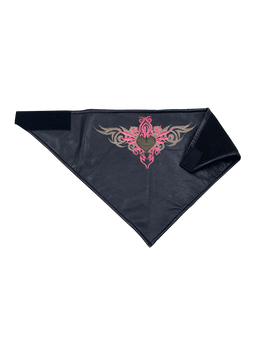 UNIK Leather Face Mask With Pink Tribal Heart Embroidery - SKU 1397-24-UN