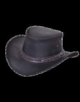 UNIK Black Premium Leather Outback Hats - SKU 9212.00-UN