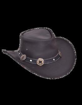 UNIK Black Premium Leather Outback Hats - SKU 9211.00-UN
