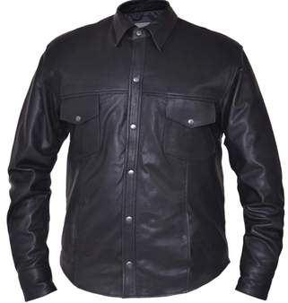 Men's Premium Leather Motorcycle Shirt - SKU 852-00-UN