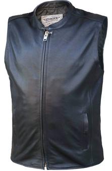 Men's Premium Leather Motorcycle Zipper Vest - SKU 6659-00-UN