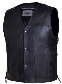 UNIK Men's Premium Leather Motorcycle Vest - SKU 2611-00-UN
