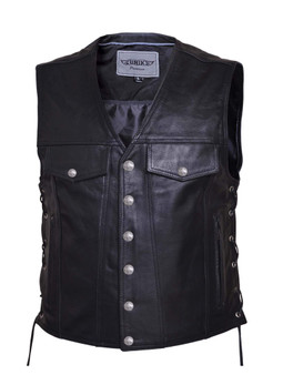 UNIK Men's Premium Leather Motorcycle Vest 5
