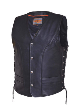 UNIK Men's Premium Leather Motorcycle Vest 6