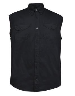 Men's Sleeveless Black Denim Shirt - Biker Shirt - TW107-00-UN