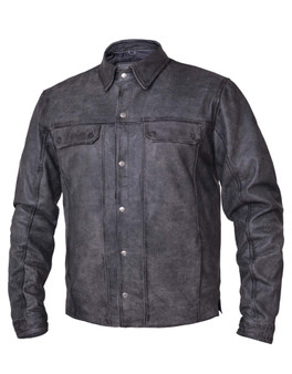 UNIK Men's Tombstone Gray Leather Shirt