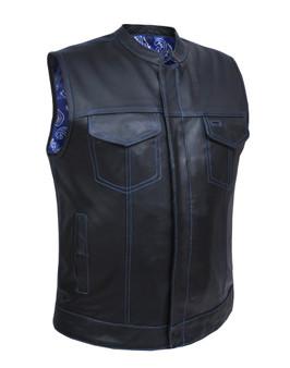 Men's Leather Club Vest with Blue Paisley Liner - SKU 6665-03-UN