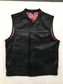 Men's Leather Club Vest with Red Paisley Liner - SKU 6665-01-UN