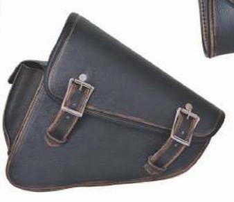 Left Side Hard Leather Swing Arm Bag - Biker Gear Bags - SKU 9567-ABR-UN