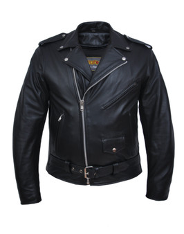 Tall Men's Premium Leather Motorcycle Jacket - Up to Size 66 - SKU 13-ZO-UN