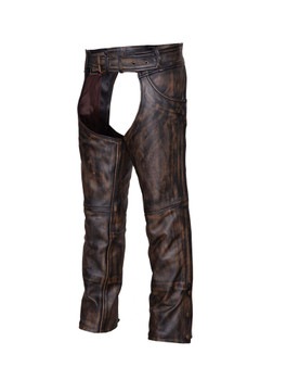 UNIK Unisex Nevada Brown Ultra Leather Chaps - SKU GRL-720-ABR-UN