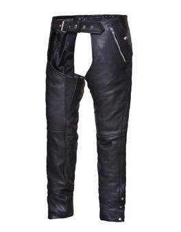 UNIK Unisex Premium Black Leather Motorcycle Chaps - SKU 7145-K-UN