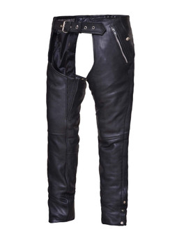 UNIK Unisex Premium Black Leather Motorcycle Chaps - SKU 7145-K-UN