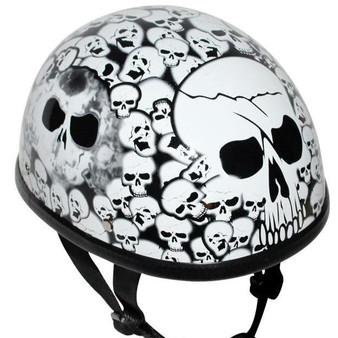 White Eagle Style Boneyard Novelty Motorcycle Helmet - SKU GRL-H6401-WHITE-DL