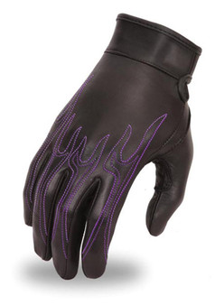 Women's Leather Flame Design Motorcycle Gloves - FI113GEL-FM