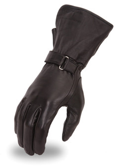 Women's lightweight lined naked skin gauntlet glove with adjustable wrist strap.