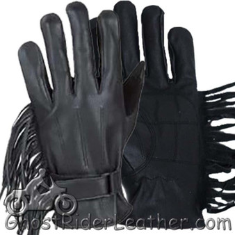 Womens Leather Riding Gloves with Fringe - SKU GRL-GL2082-DL