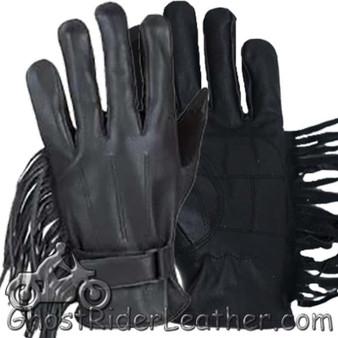 Womens Leather Riding Gloves with Fringe - SKU GRL-GL2082-DL