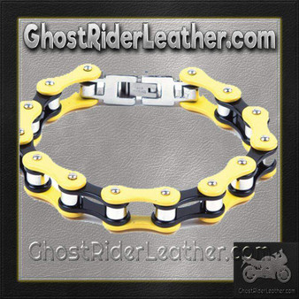 Yellow and Black Motorcycle Stainless Steel Chain Bracelet - SKU GRL-BR23-DL