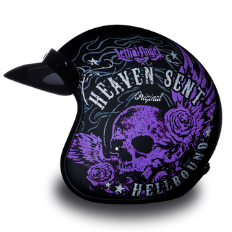 DOT Daytona Cruiser Heaven Sent Open Face Motorcycle Helmet - SKU GRL-DC6-HS-DH