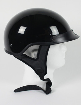 DOT Gloss Black Motorcycle Shorty Helmet - SKU GRL-1GB-HI