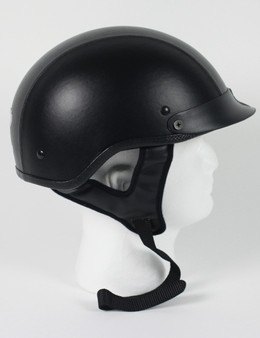 DOT Black Leather Motorcycle Shorty Helmet - Biker Lid - SKU 1L-HI.  FEATURES:  DOT Approved for safety. Shorty half helmet with visor. Lightweight, weighs approximately 30 ounces. EPS liner thickness - 1 inch. Quality plush interior. Removable visor. Stainless Steel Dual D-ring retention system. Face shield compatible. DOT clear coated in the back. Free shipping.