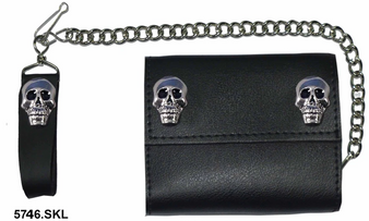 4 inch Black Leather Biker Chain Wallet With Skulls - Tri-fold - SKU 5746-SKL-UN