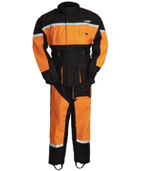 Men's Waterproof Motorcycle Rain Suit in Orange- SKU ATM3003-ORANGE-FM