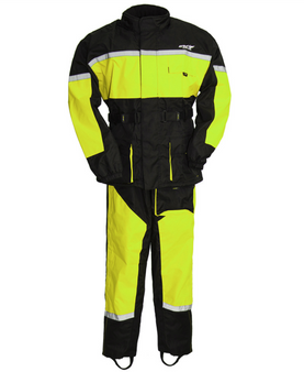 Men's Waterproof Motorcycle Rain Suit in Neon Green - SKU ATM3003-GREEN-FM