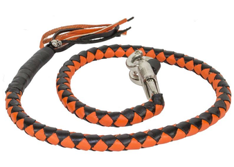 Get Back Whip in Black and Orange Leather - 42 Inches - Motorcycle Accessories -  GBW9-11-DL