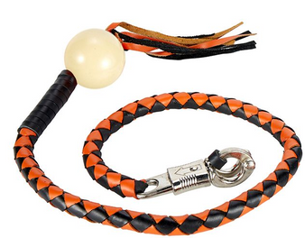 Get Back Whip in Black and Orange Leather With White Pool Ball - 42 Inches - GBW9-WHITE-BALL-DL