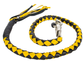 2 Inches Around - Get Back Whip in Black and Yellow Leather - 42 Inches - Motorcycle Accessories - GBW8-11-T1-DL