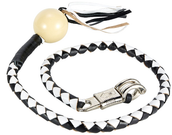 Get Back Whip - Black and White Leather - With White Cue Ball - 42 Inches - Motorcycle Accessories - SKU GBW7-BB-DL