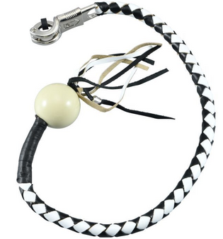 Get Back Whip - Black and White Leather - With White Cue Ball - 36 Inches - SKU GBW7-BB-36-DL