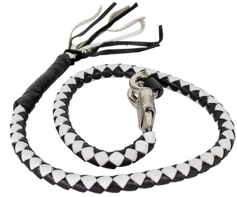 Get Back Whip - Black and White Leather - 42 Inches Long - Motorcycle Accessories -  GBW7-11-DL