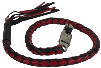 2 Inch Fat - Get Back Whip - Black and Red Leather - 42 Inches - SKU GBW6-11-T1-DL